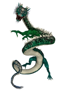 3D digital render of a green fantasy eastern dragon isolated on white background